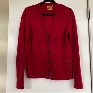 Tory Burch Red Wool Cardigan